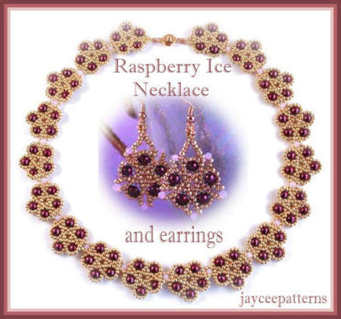 Bead Tutorial - Raspberry Ice Necklace and Earring Pattern - Netting Stitch