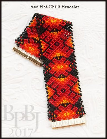 Bead Tutorial - Red Hot Chilli Bracelet - Huichol Netting Stitch
