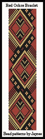 Bead Pattern - Red Ochre Bracelet - Loom Stitch