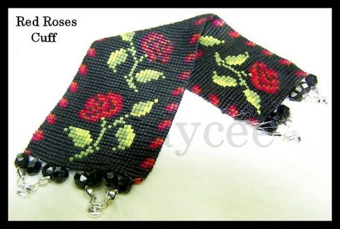 Bead Pattern - Red Roses Cuff - Loom Stitch