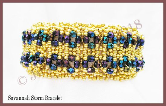 Bead Tutorial - Savannah storm Bracelet - Netting Stitch