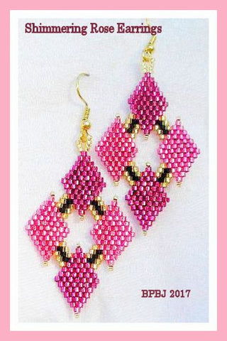 Bead Pattern - Shimmering Rose Earrings - Advanced Brick Stitch