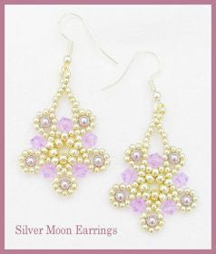 FREE Bead Tutorial - Silver Moon Earrings - Netting Stitch