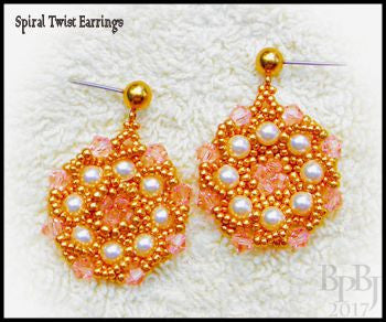 Bead Tutorial - Spiral Twist Earrings - Flat Spiral Stitch