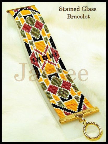 Bead Pattern - Stained Glass Cuff - Loom or Square Stitch