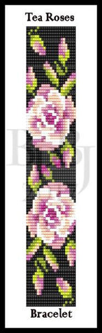 Bead Pattern - Tea Roses Bracelet - Loom or Square Stitch