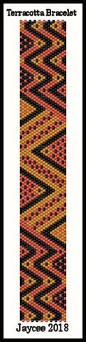 Bead Pattern - Terracotta bracelet - even count peyote stitch