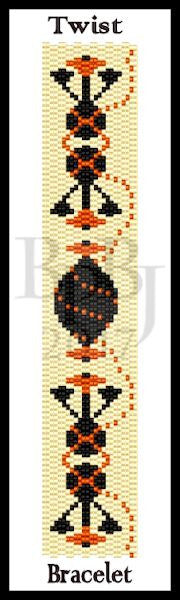 Bead Pattern - Twist Bracelet - 2 Drop Even Count Peyote Stitch