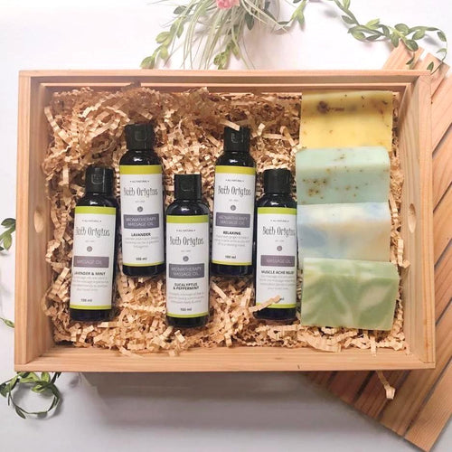 Massage Oils with All Natural Soaps in a Crate
