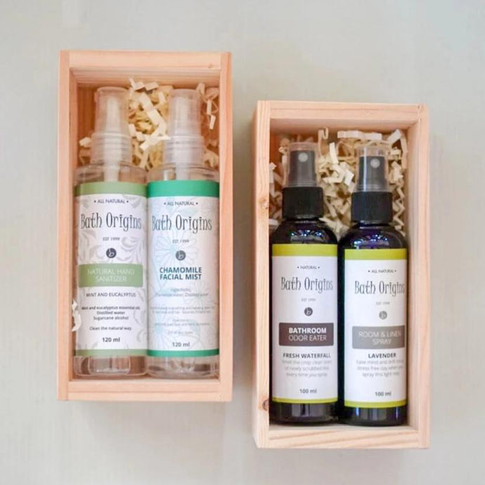 2 Bottles in a Small Crate (Linen Spray & Odor Eater)
