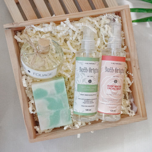 Gift Set (Soap, Facial Mist, Hand Sanitizer & Small Diffuser) in a Crate