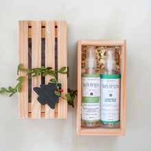 2 Bottles in a Small Crate (Linen Spray & Massage Oil)