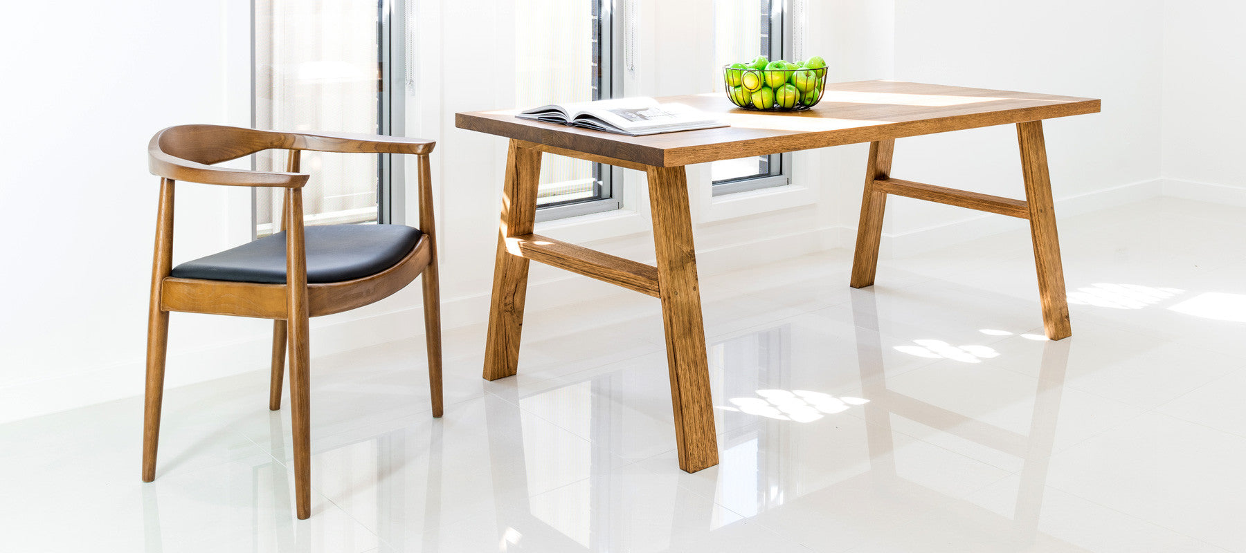 Aki solid timber dining table