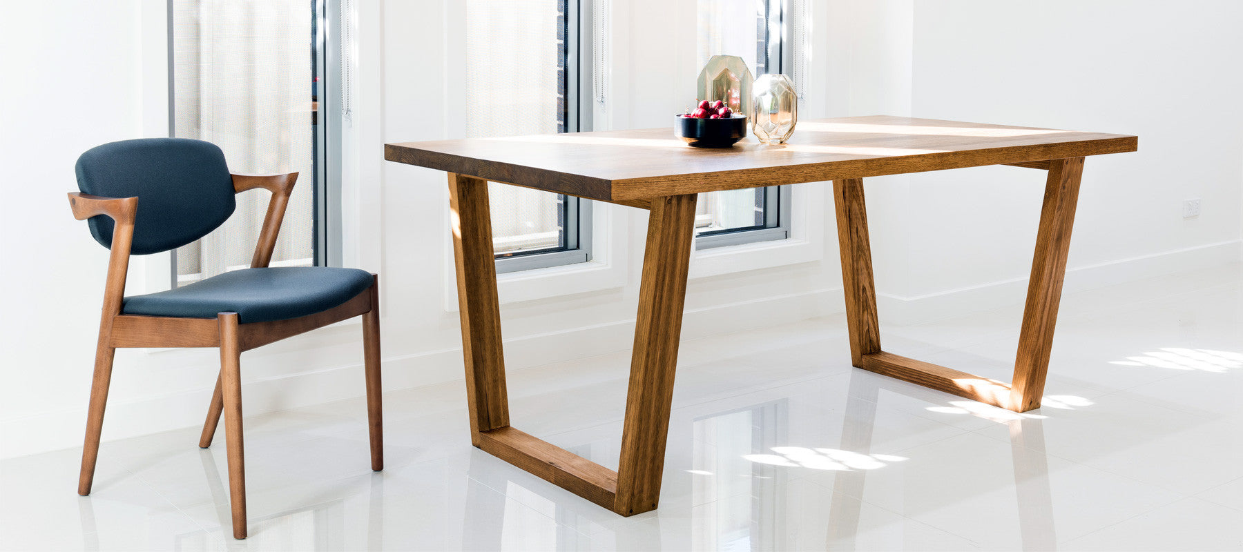 Vic solid timber dining table setting