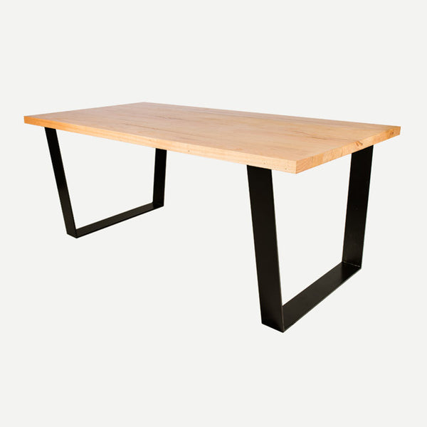 Vic solid timber dining table - Black legs