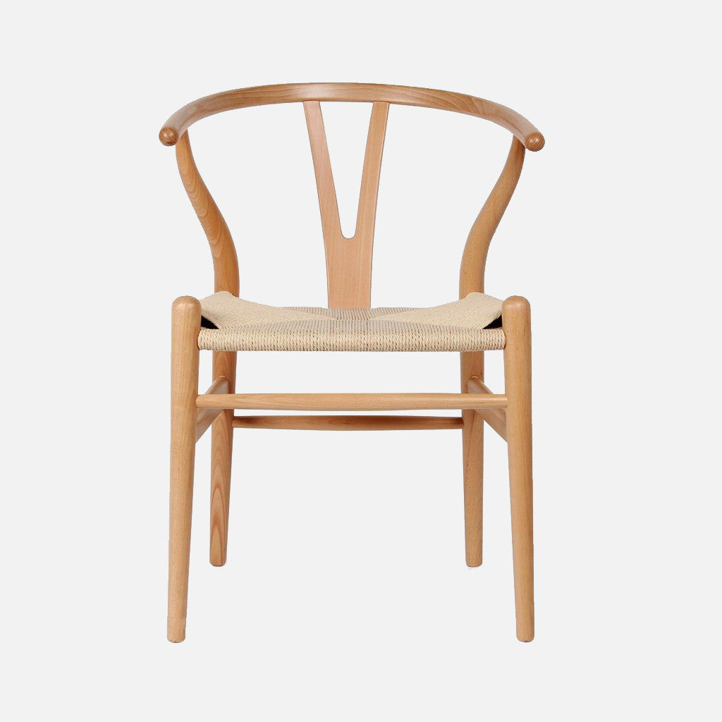 Beau Wishbone Chair Beech/Cord   Front