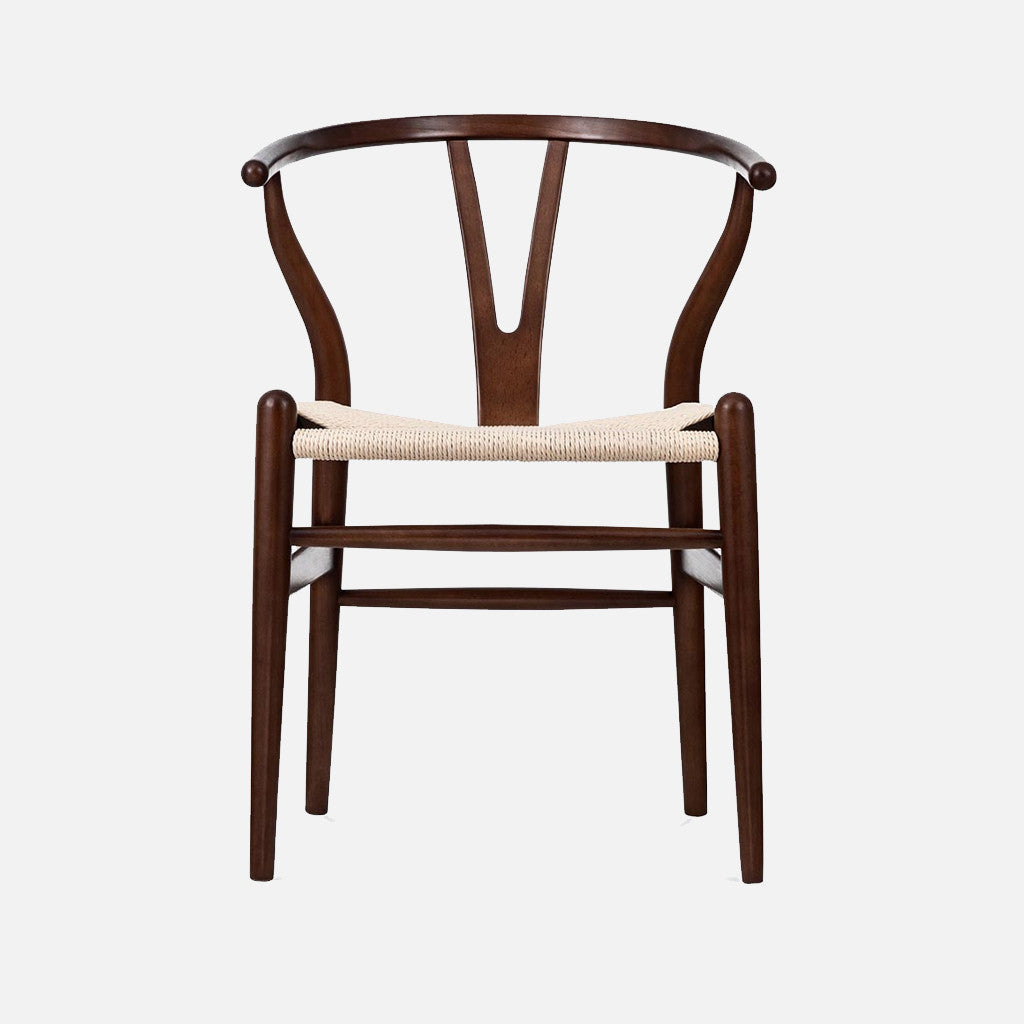 Wegner Wishbone chair - Walnut/Cord Front & Hans Wegner Replica Wishbone Chair CH24 u2013 Walnut/Cord - Nestly