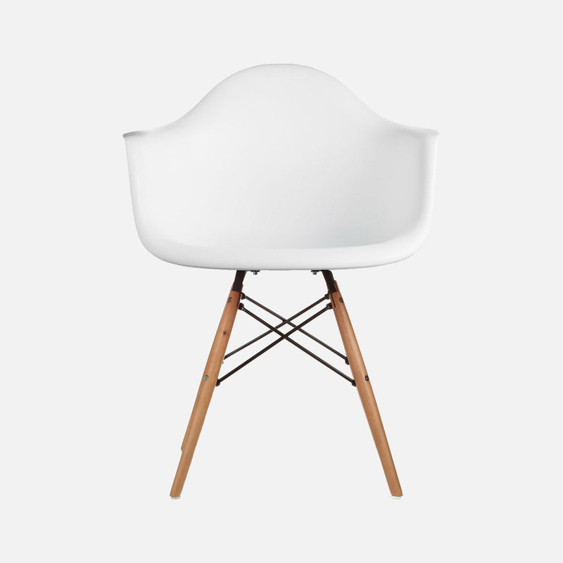 Eames replica armchair wooden legs daw white nestly for Eames armchair replica