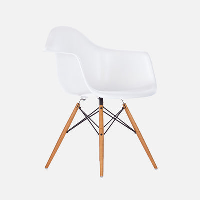 Eames Replica DAW Armchair - White Perspective View