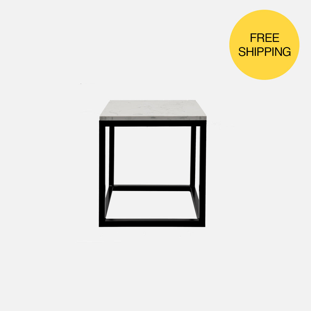 Cooper Box Frame Side Table   Marble