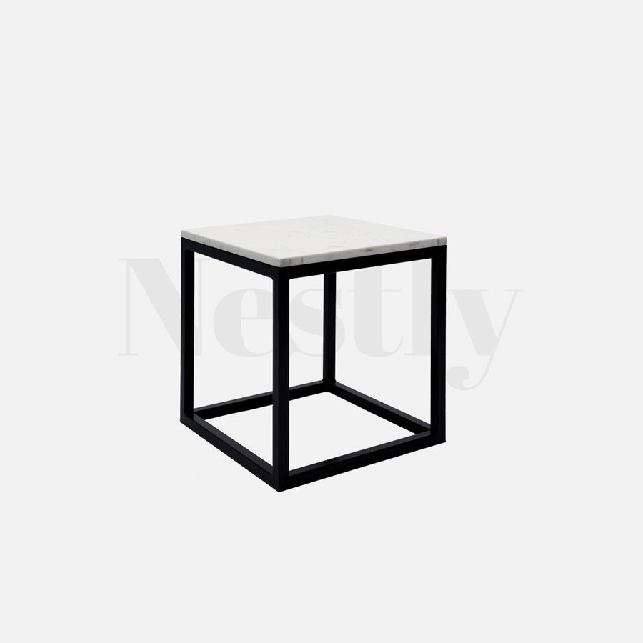 Cooper Box Frame Side Table - Marble