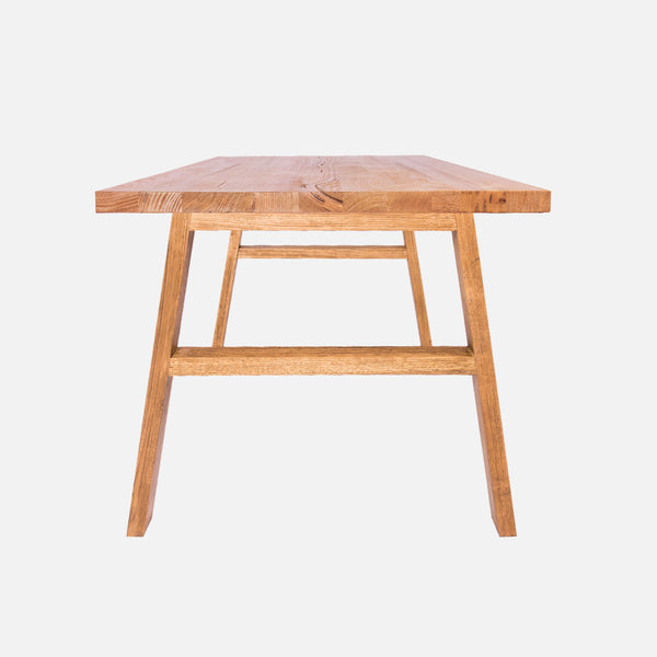 Aki solid timber dining table - Side view
