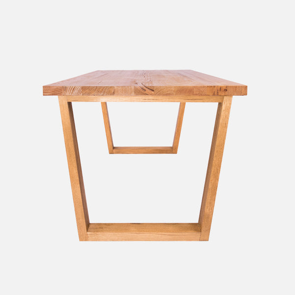 Solid timber dining table - side view