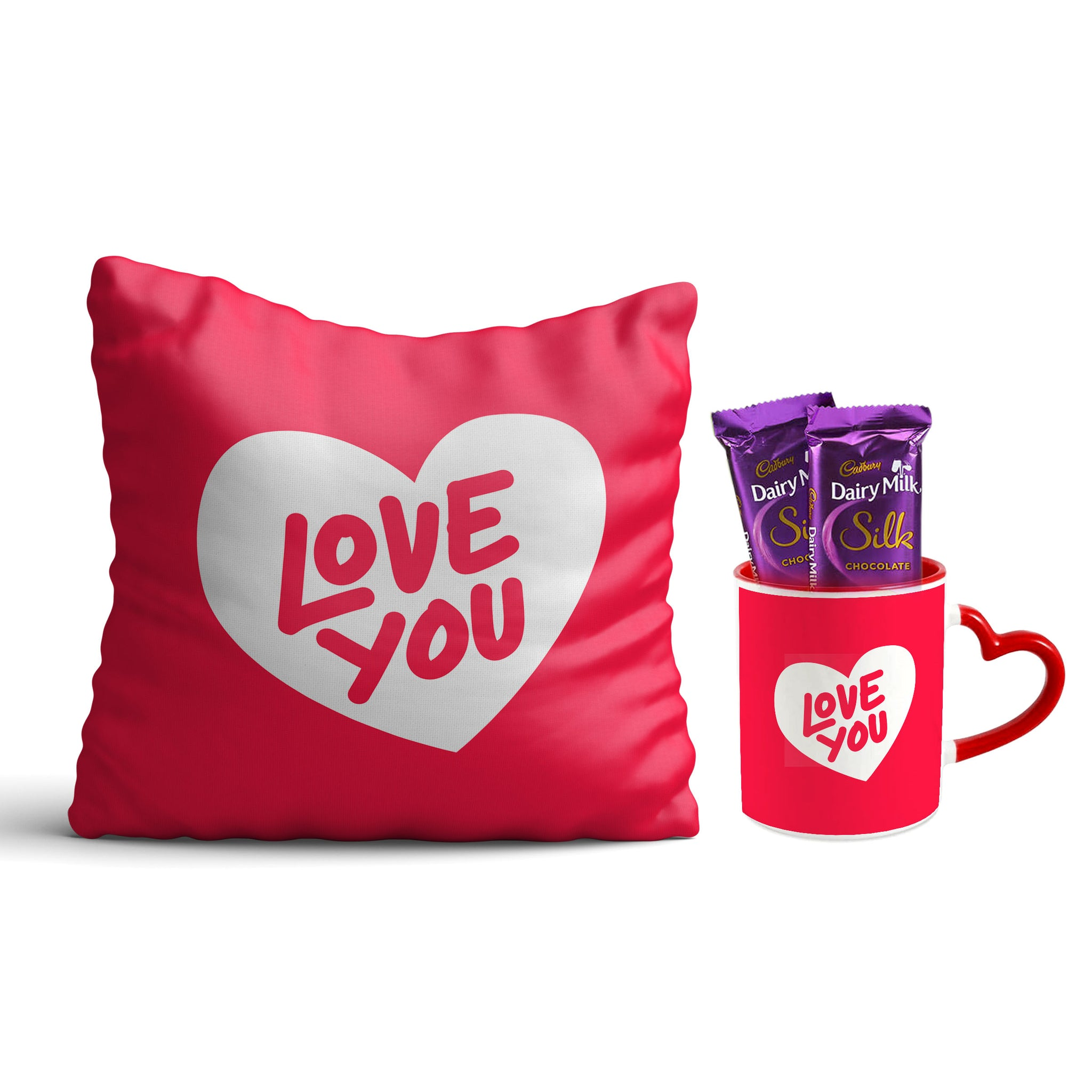 I love you  Cushion and Mug Combo With Cadbury Silk Chocolates