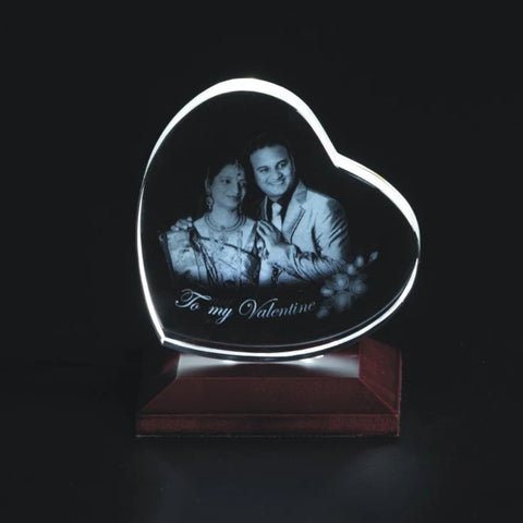 Personalised 2D Photo Crystal Heart Shape