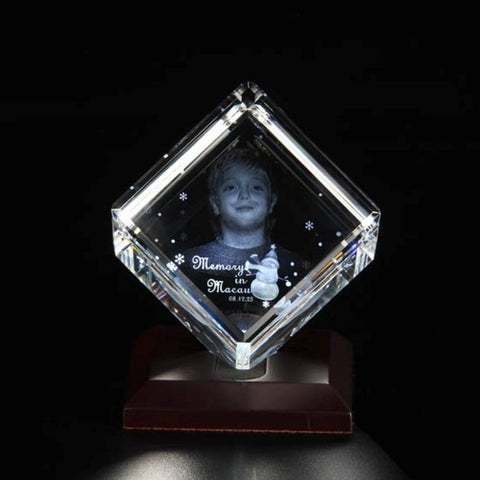 Personalised 3D Photo Crystal in Cube Shape - Small