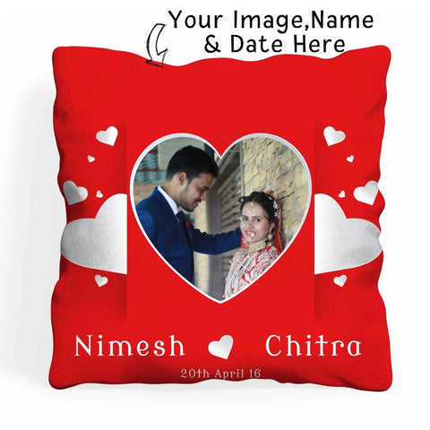 Personalized Square Shape Photo Cushion With Filler