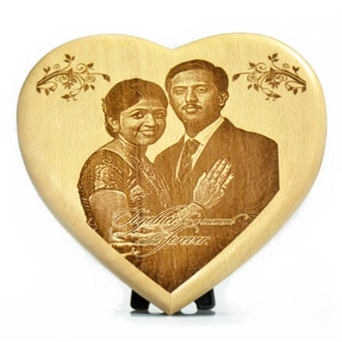 Wooden Engraved Plaque in Heart Shape