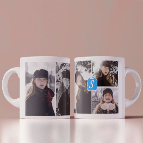 Photo Collage With Initial  Coffee Mug