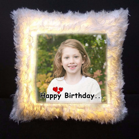 Personalized Led Photo Fur Cushion With Filler