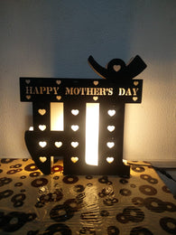 Mother's day special wooden led cutout