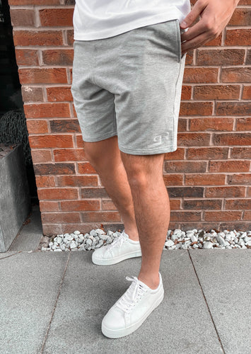 Aura Jogger Shorts - Heather Grey/White
