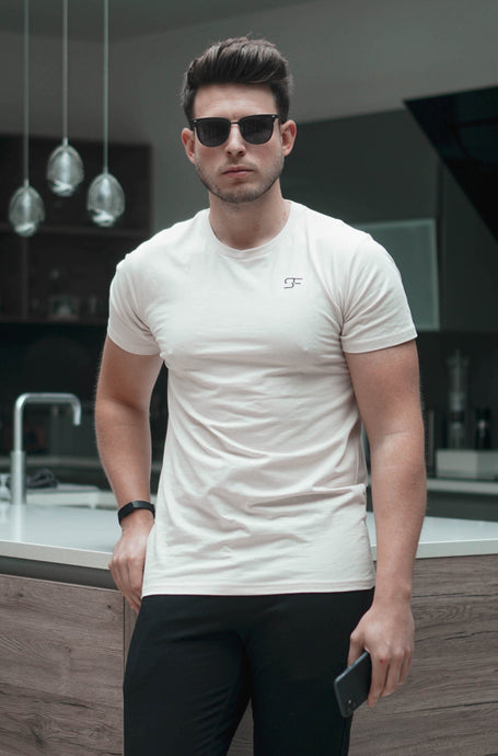 Stretch Slim T-Shirt In Stone
