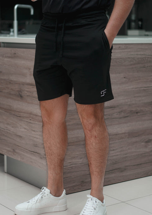 Aura Jogger Shorts In Jet Black