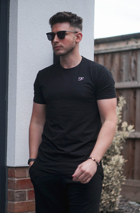 Stretch Slim T-Shirt In Black