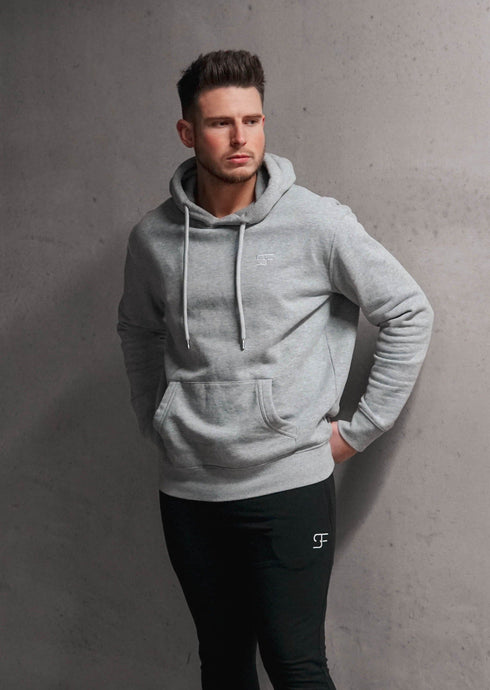 Essential Pullover Hoodie In Heather Grey