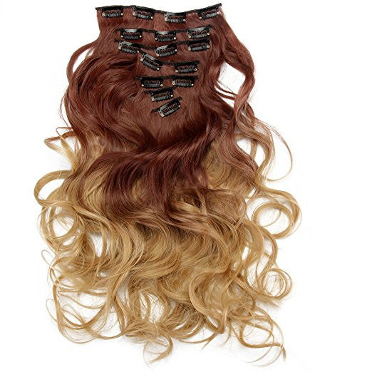 aimei two tone 7pcs ombre curly hair extensions hairpiece heat
