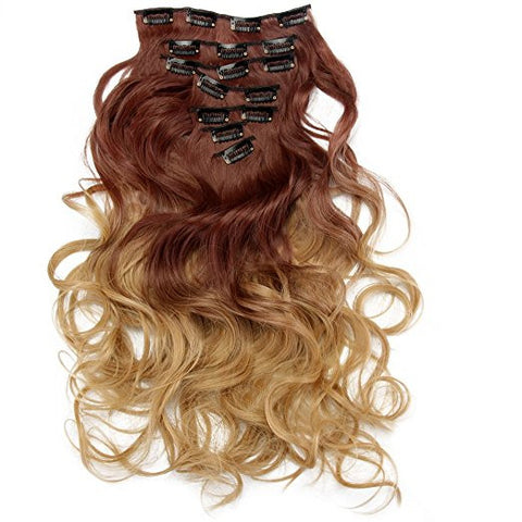 AIMEI Two Tone 7pcs Ombre Curly Hair Extensions Hairpiece Heat Resistant As Real Hair 30#/25#