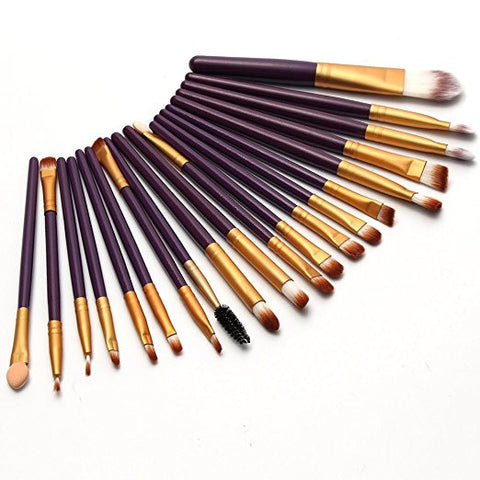 AIMEI 20pcs Makeup Sets Soft Powder Foundation Eyeshadow Eyeliner Lip Makeup Brushes Purple + Gold