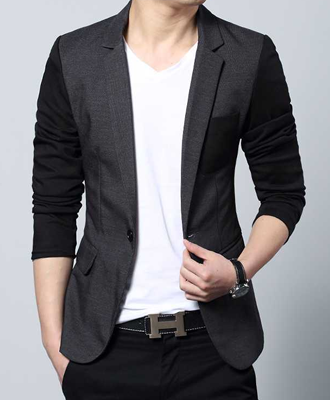 Slim Denim Blazer Gray