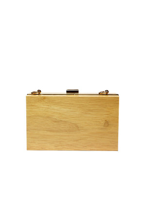 Cecilia Ma - Alice wooden clutch with brass chain