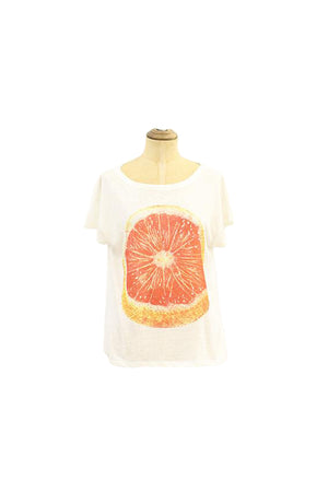Off White Loose Tshirt with print Citrus design