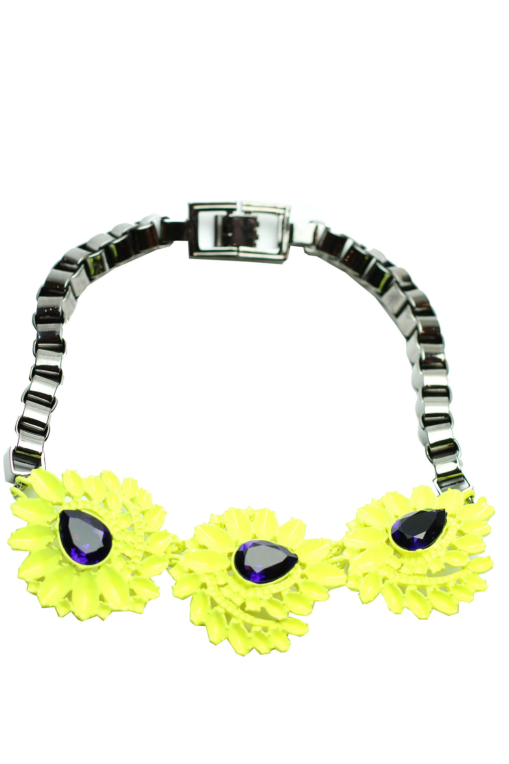 Mawi - Neon flower necklace with Triple Gemstones 1