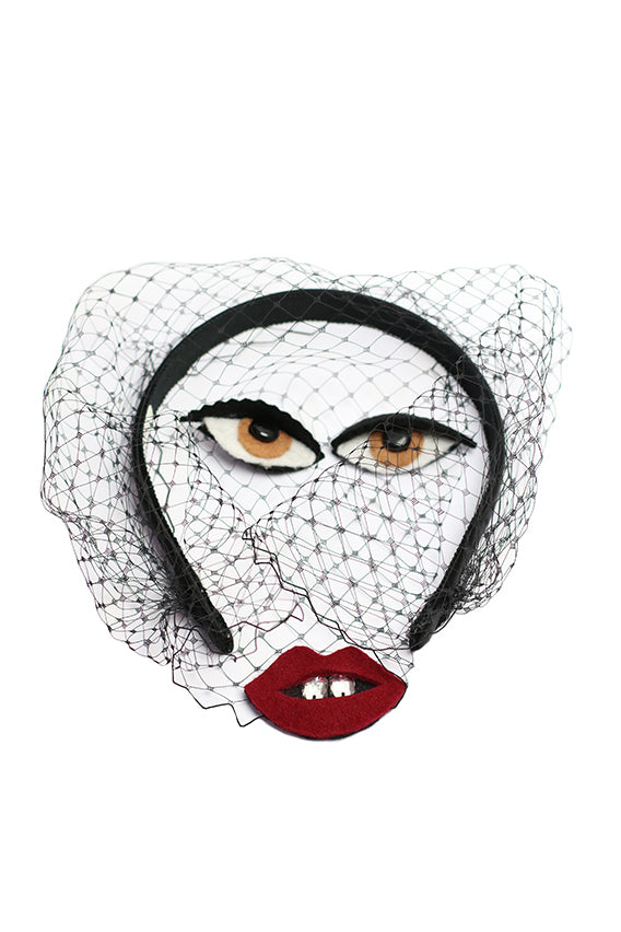Bianca Black Veil Headband with Eyes and Lips