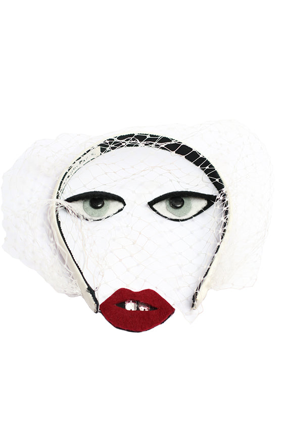 Bianca White Veil Headband with Eyes and Lips