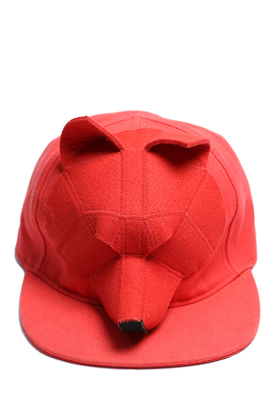 Francesco Ballestrazzi - Red baseball cap with flat visor fox head shape